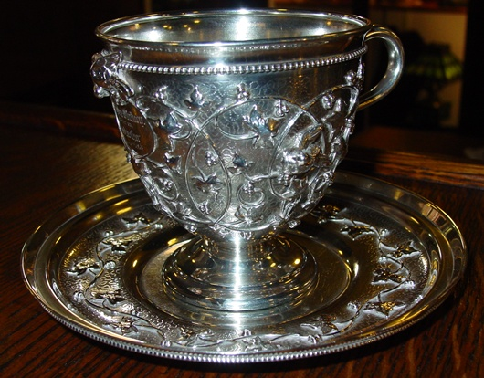 Rare Tiffany sterling silver cup & saucer Birdnest