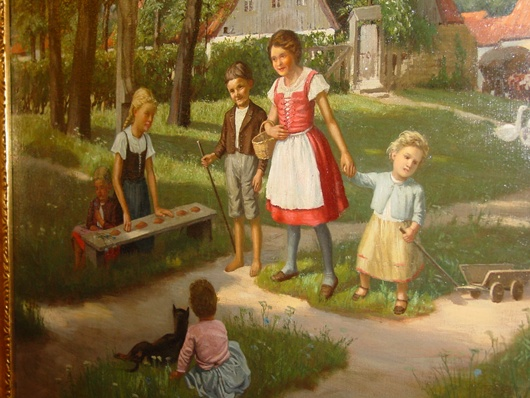 Signed Fritz Kerl oil on canvas--Children --1899
