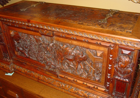 Spectacular hand carved-signed-French chest