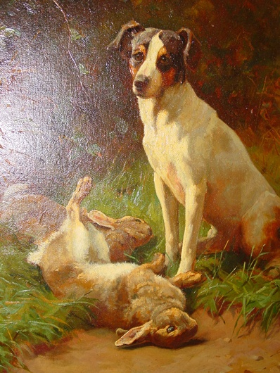 Oil on canvas by Alfred Duke---J R Terrier