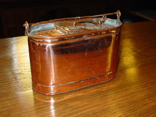 Unusual copper salesman sample minnow bucket