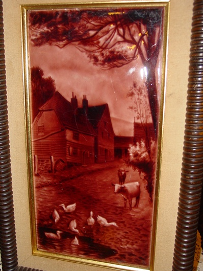 English framed glazed tile-farm scene ducks & cows