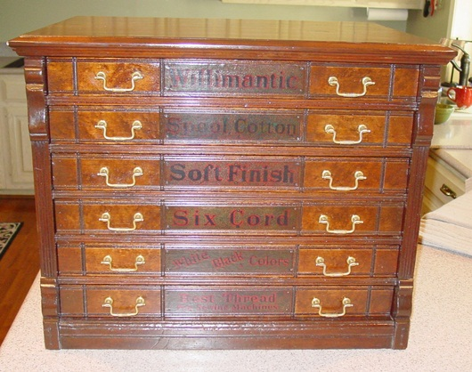 6 drawer Willimantic spool cabinet with owl