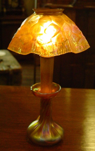 Tiffany candle lamp with rare honeycomb shade