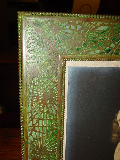 Large Tiffany Studios picture frame-pine needle