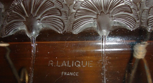 Signed R Lalique glass tray--Gingko leafs
