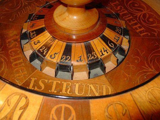 Neat German hand inlaid roulette wheel