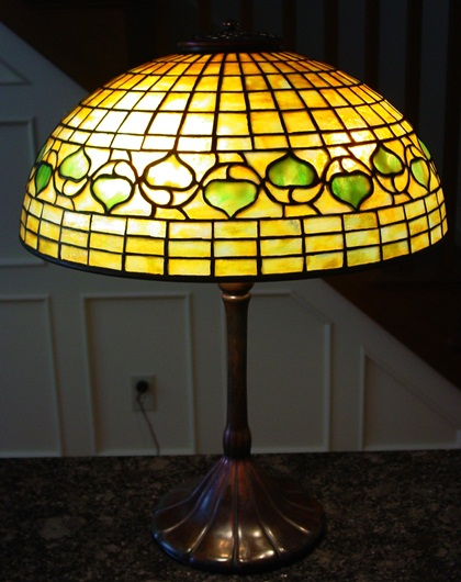 Tiffany Studios leaded glass table lamp-Acorn