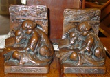 Signed Weidlich Bros copper clad bookends