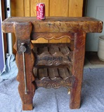 Early French wood worker's bench wine holder