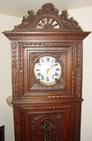 Late 19th c oak carved French tall case clock